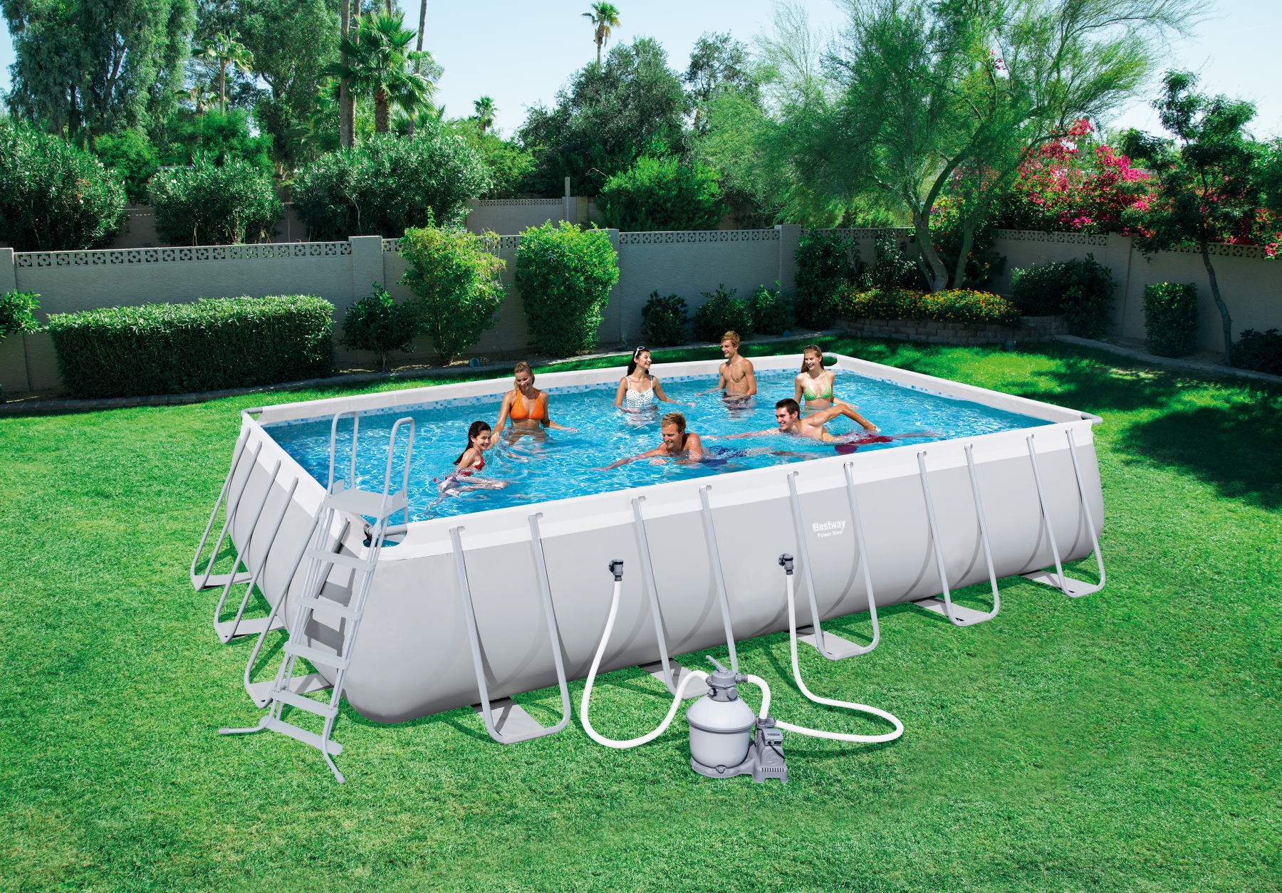 Piscina fuori terra rettangolare power steel bestway 56471 for Addobbi piscina