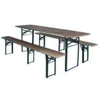 Set Birreria richiudibile 1 tavolo e 2 panche con 3 gambe plus