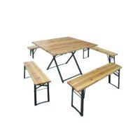 Set-Birreria-square-in-legno-tavolo-con-4-panche