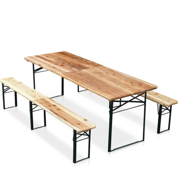 Set birreria richiudibile 1 tavolo e 2 panche con 3 gambe for Gambe pieghevoli per tavoli fai da te