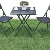 Set rattan picnic arredo giardino tavolo e 2 sedie