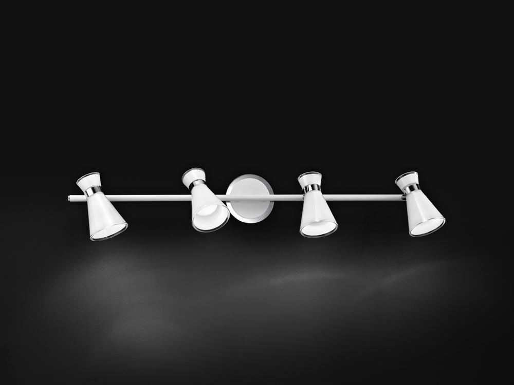 Faretto 4 luci in vetro bianco perenz 6138b ferramenta for Luci faretti