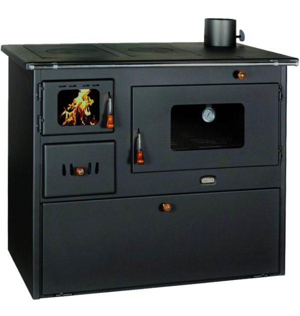 "Cucina a legna in acciaio ""Lux 50"" con forno a legna"