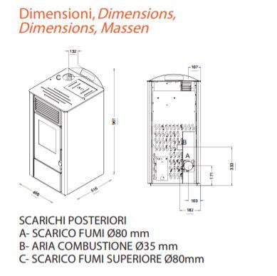Stufa a pellet lory 10 kw 9 avorio punto fuoco - Dimensioni stufe a pellet ...