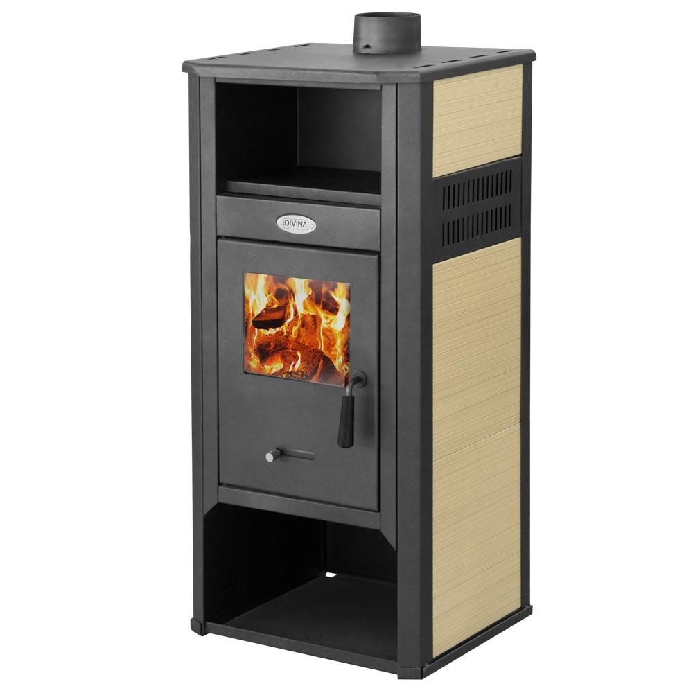 Stufa a legna in acciaio katia beige df51699 kw 9 10 ferramenta centro italia - Termostufe a legna usate ...
