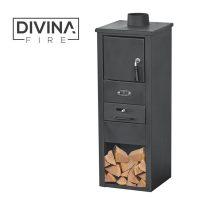 Stufa a legna acciaio nera divina fire modello erika DF51694