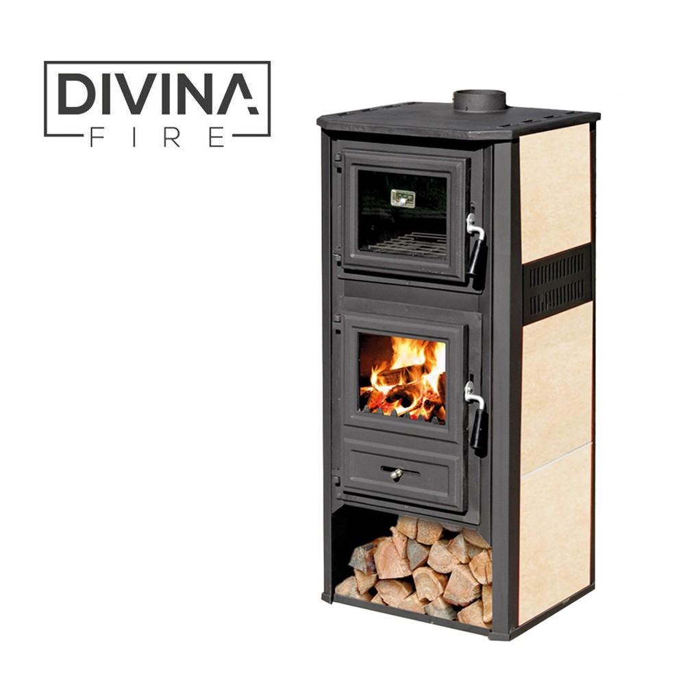 Stufa in acciaio con forno linda beige df51073 kw 10 12 - Stufa in ghisa a legna ...