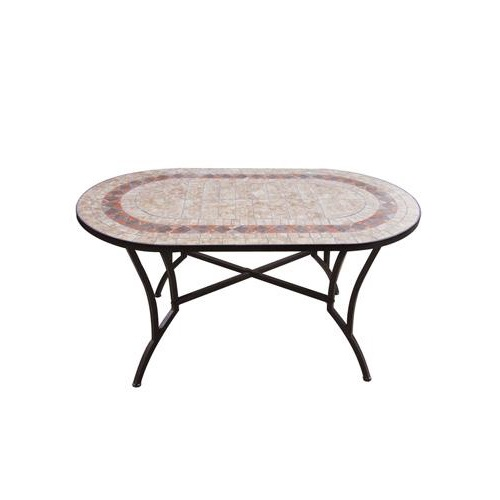Foto Tavoli In Ferro Battuto.Tavolo Ovale In Ferro Con Mosaico Amalfi
