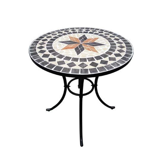 Tavolo Tondo Ferro.Tavolo Rotondo In Ferro Con Mosaico Capri Rosa Dei Venti