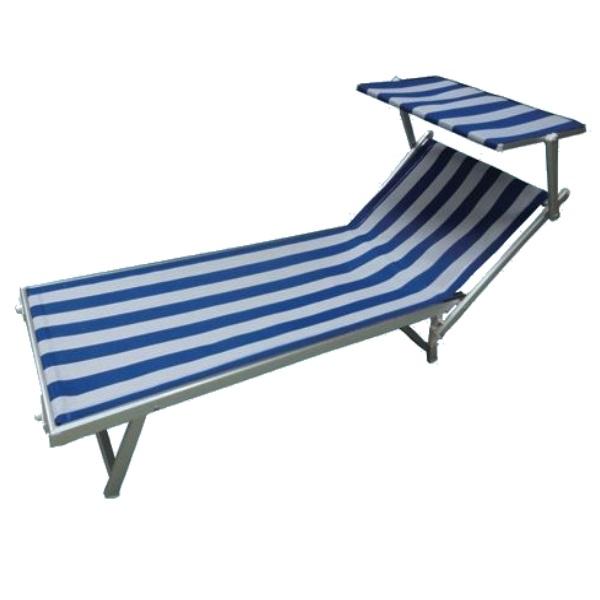 Lettino da spiaggia Rimini Bianco Blu