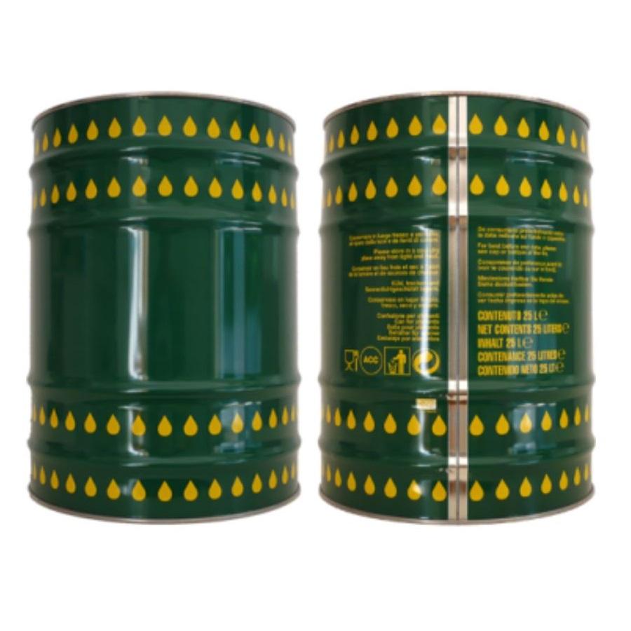 Lattina cilindrica verde con gocce 25 litri