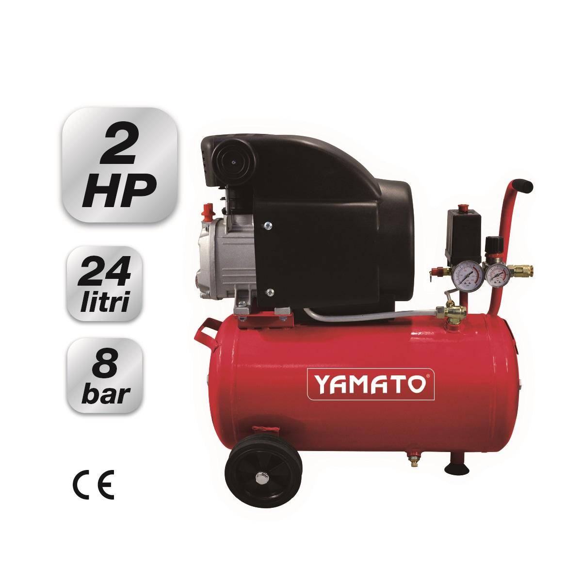 compressore elettrico carrellato 24 lt 2 hp yamato