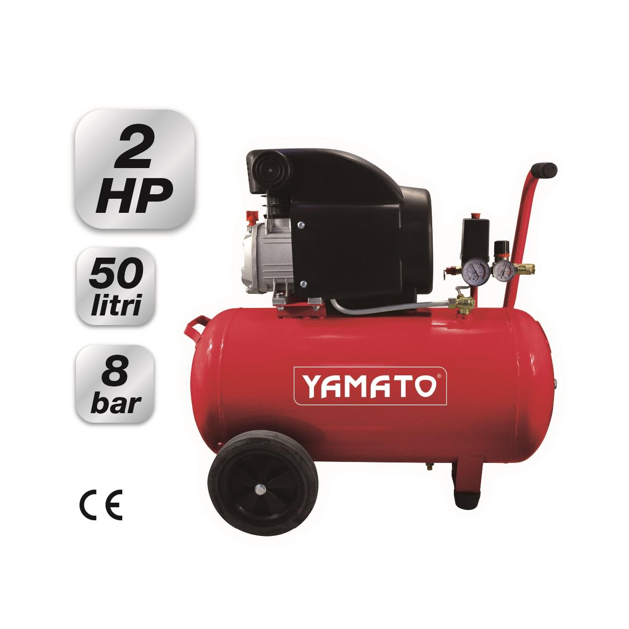 compressore elettrico carrellato 50 lt 2 hp yamato