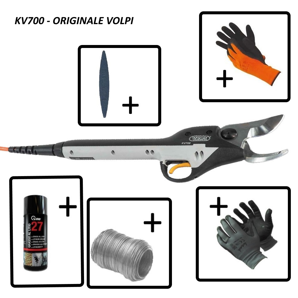 Forbici elettriche da potatura Volpi Kamikaze KV700, batteria Li-ion 4.4 Ah. Ø max 38-40mm