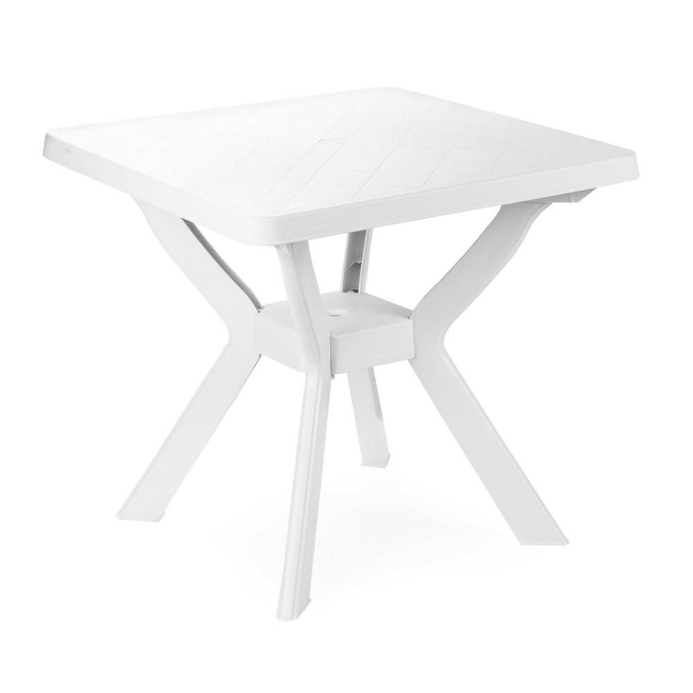 """Tavolo quadrato in resina """"Nilo"""" Bianco cm. 80 (L) x 80 (P) x 72 (A)"""