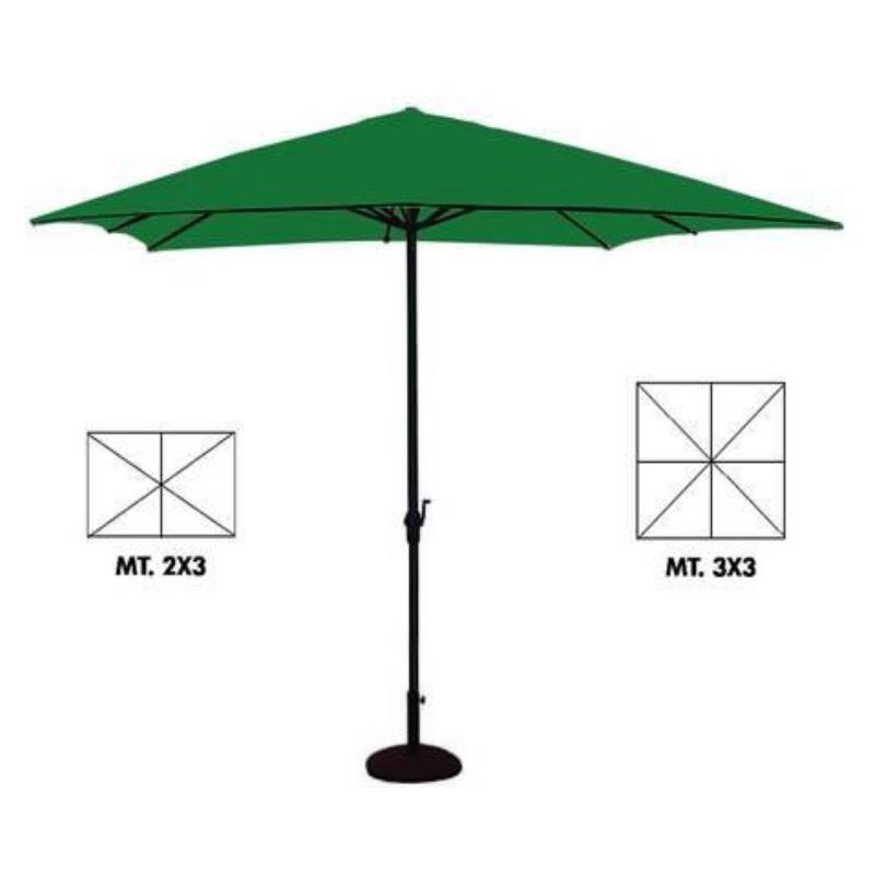 Ombrellone quadrato e rettangolare in metallo con manovella 200x300 300x300 telo verde