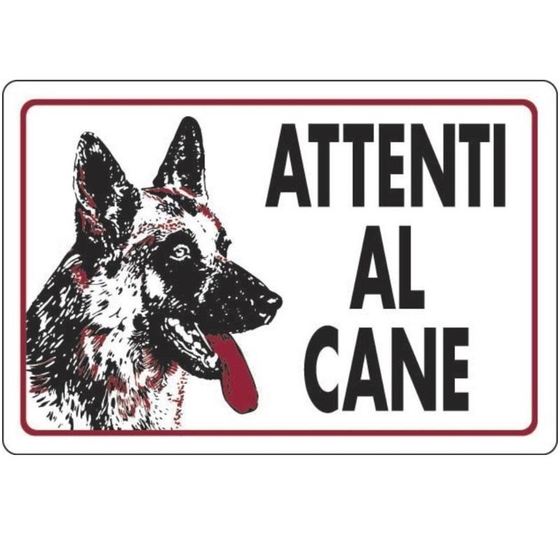 Cartello attenti al cane bianco