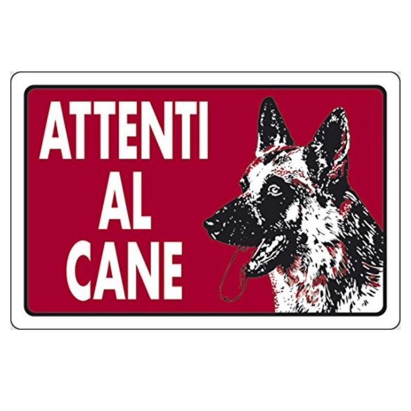 Cartello attenti al cane rosso