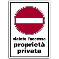 Cartello proprietà privatà vietato l'accesso