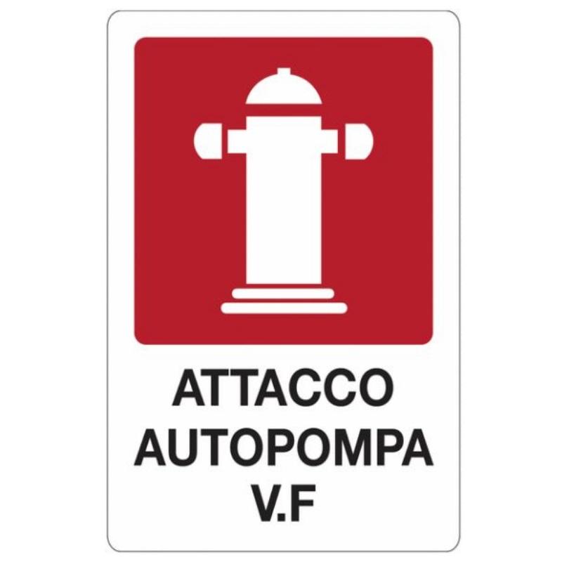 Cartello segnaletico attacco autopompa