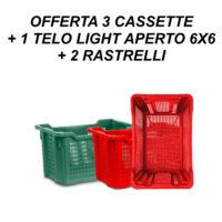 OFFERTA 3 CASSETTE + 1 TELO LIGHT APERTO 6X6 + 2 RASTRELLI