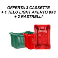 OFFERTA 3 CASSETTE + 1 TELO LIGHT APERTO 8X8 + 2 RASTRELLI